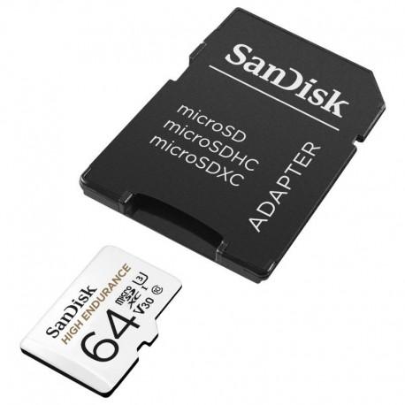 SANDISK HIGH ENDURANCE microSDXC 64GB V30 z adapterem